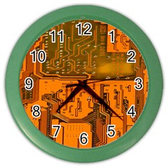 Circuit Board Pattern Color Wall Clocks by BangZart