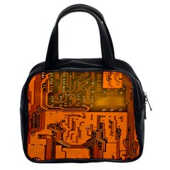 Circuit Board Pattern Classic Handbags (2 Sides) by BangZart