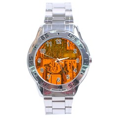 Circuit Board Pattern Stainless Steel Analogue Watch by BangZart