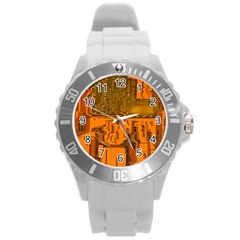 Circuit Board Pattern Round Plastic Sport Watch (l) by BangZart