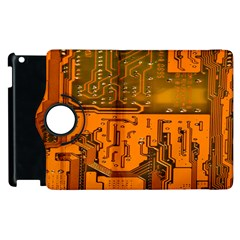 Circuit Board Pattern Apple Ipad 2 Flip 360 Case by BangZart