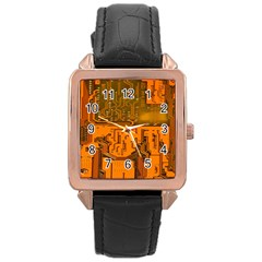 Circuit Board Pattern Rose Gold Leather Watch  by BangZart