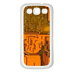 Circuit Board Pattern Samsung Galaxy S3 Back Case (white) by BangZart