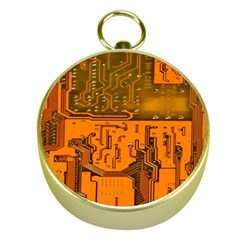 Circuit Board Pattern Gold Compasses by BangZart