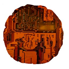 Circuit Board Pattern Large 18  Premium Flano Round Cushions by BangZart