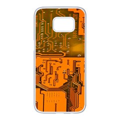 Circuit Board Pattern Samsung Galaxy S7 Edge White Seamless Case by BangZart