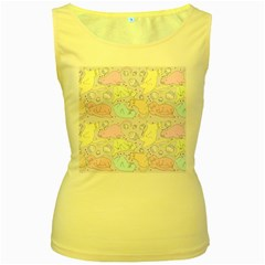 Cat Animal Pet Pattern Women s Yellow Tank Top