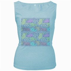 Cat Animal Pet Pattern Women s Baby Blue Tank Top