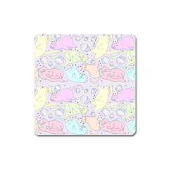Cat Animal Pet Pattern Square Magnet