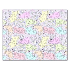 Cat Animal Pet Pattern Rectangular Jigsaw Puzzl by BangZart