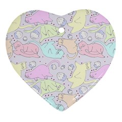 Cat Animal Pet Pattern Heart Ornament (two Sides) by BangZart