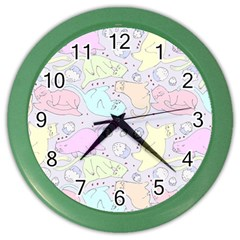 Cat Animal Pet Pattern Color Wall Clocks by BangZart