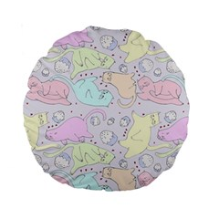 Cat Animal Pet Pattern Standard 15  Premium Round Cushions by BangZart
