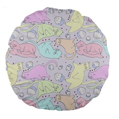 Cat Animal Pet Pattern Large 18  Premium Round Cushions by BangZart