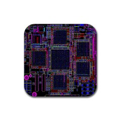 Cad Technology Circuit Board Layout Pattern Rubber Square Coaster (4 Pack)  by BangZart