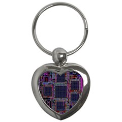 Cad Technology Circuit Board Layout Pattern Key Chains (heart)