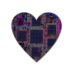 Cad Technology Circuit Board Layout Pattern Heart Magnet by BangZart
