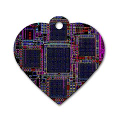 Cad Technology Circuit Board Layout Pattern Dog Tag Heart (two Sides) by BangZart
