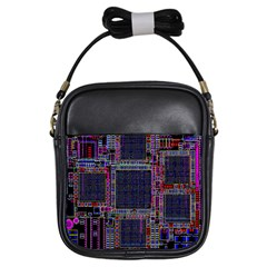 Cad Technology Circuit Board Layout Pattern Girls Sling Bags by BangZart