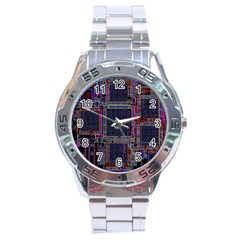 Cad Technology Circuit Board Layout Pattern Stainless Steel Analogue Watch by BangZart