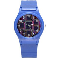 Cad Technology Circuit Board Layout Pattern Round Plastic Sport Watch (s) by BangZart
