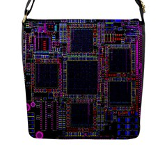 Cad Technology Circuit Board Layout Pattern Flap Messenger Bag (l)  by BangZart