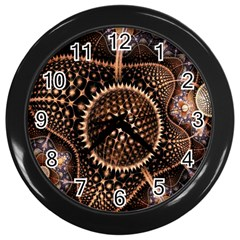 Brown Fractal Balls And Circles Wall Clocks (black) by BangZart