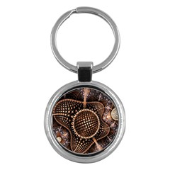 Brown Fractal Balls And Circles Key Chains (round)  by BangZart