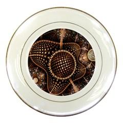 Brown Fractal Balls And Circles Porcelain Plates by BangZart