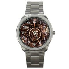 Brown Fractal Balls And Circles Sport Metal Watch by BangZart