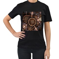 Brown Fractal Balls And Circles Women s T Shirt (black)
