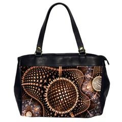 Brown Fractal Balls And Circles Office Handbags (2 Sides)