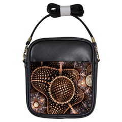 Brown Fractal Balls And Circles Girls Sling Bags by BangZart