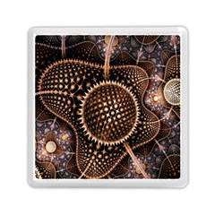 Brown Fractal Balls And Circles Memory Card Reader (square)