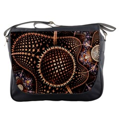 Brown Fractal Balls And Circles Messenger Bags