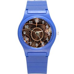 Brown Fractal Balls And Circles Round Plastic Sport Watch (s) by BangZart