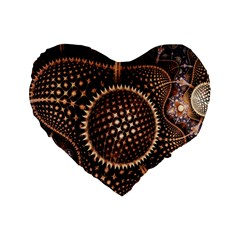Brown Fractal Balls And Circles Standard 16  Premium Heart Shape Cushions by BangZart