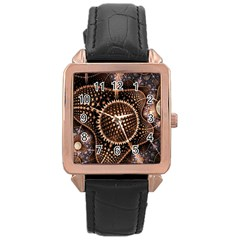 Brown Fractal Balls And Circles Rose Gold Leather Watch  by BangZart