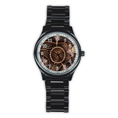 Brown Fractal Balls And Circles Stainless Steel Round Watch