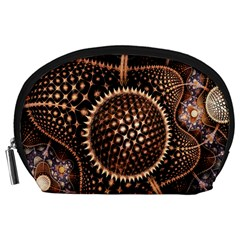 Brown Fractal Balls And Circles Accessory Pouches (large)