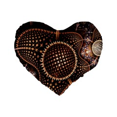 Brown Fractal Balls And Circles Standard 16  Premium Flano Heart Shape Cushions by BangZart