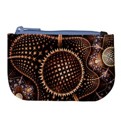 Brown Fractal Balls And Circles Large Coin Purse by BangZart