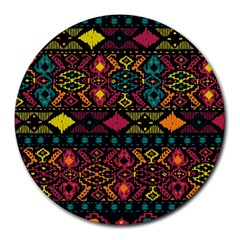 Bohemian Patterns Tribal Round Mousepads by BangZart