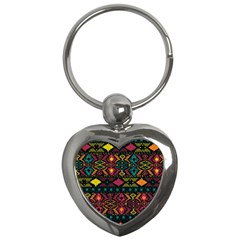 Bohemian Patterns Tribal Key Chains (heart)  by BangZart
