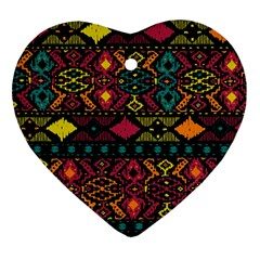 Bohemian Patterns Tribal Heart Ornament (two Sides)