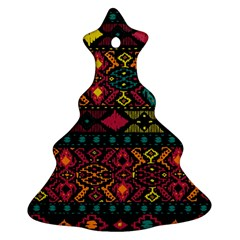 Bohemian Patterns Tribal Christmas Tree Ornament (two Sides)