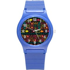 Bohemian Patterns Tribal Round Plastic Sport Watch (s) by BangZart