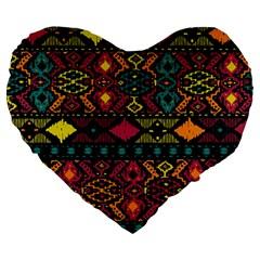 Bohemian Patterns Tribal Large 19  Premium Heart Shape Cushions by BangZart