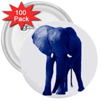 Blue Elephant 3  Button (100 pack)
