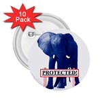 Blue Elephant  Protected  2.25  Button (10 pack)